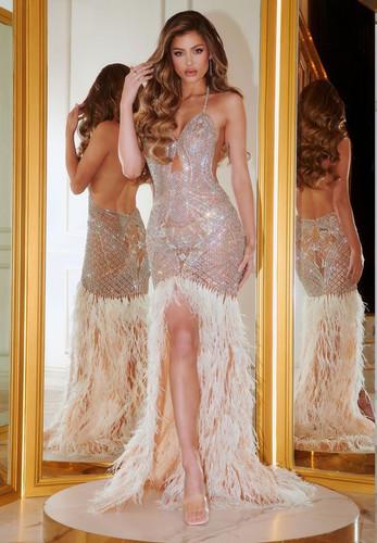 Portia & Scarlett PS21418C Gown - Silver/Nude