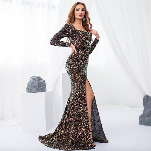 Mila Label Arella Gown - Black/Multi