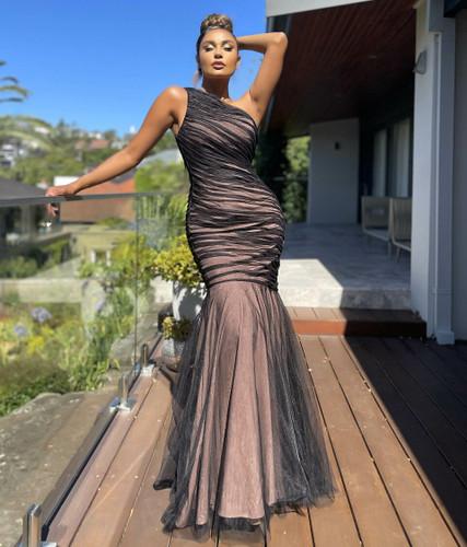 Jadore JX5071 Gown - Black/Nude