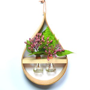 Stix & Flora - Wooden Teardrop Vase - Two 50ml Conical Flasks