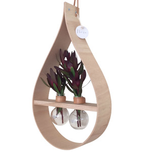 Stix & Flora - Mega Wooden Teardrop Vase - Two 250ml Round Flasks