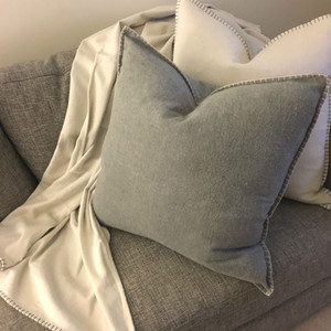 Casetta Living - Blanket Stitched Cushion 60cm - Charcoal