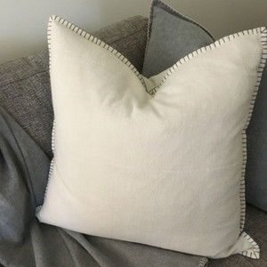 Casetta Living - Blanket Stitched Cushion 60cm - Natural