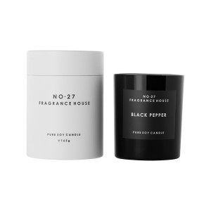 Candle in Black Frosted Glass - Black Pepper - 165g White Packaging 35 hours burn time