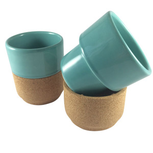 "Alma Gemea - Sateen, Portuguese Ceramic and Cork - Tea Cups (set of 2)  Soul Mate Collection  Colour: Blue ""The Whistler"" - Breakfast and Tea Series Ceramic and Cork separate for easy cleaning"