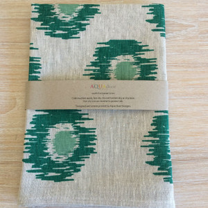 Linen Tea Towel - Ikat Spot Forest Sage Green