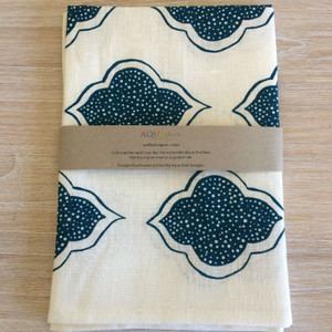100% Linen Tea Towel - Lanterns Navy