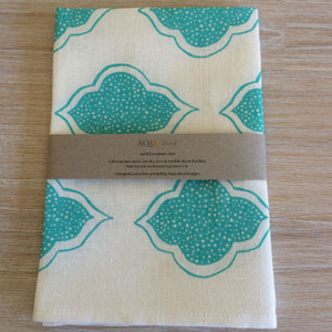 Linen Tea Towel - Lanterns Aqua