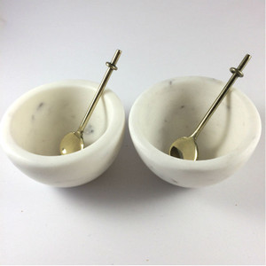 Marble Basics - Salt and Pepper Vessels (set of two) Colour: Blanc shown with 2 spoons