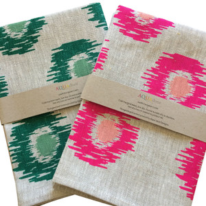 Set of 2 Linen Tea Towels - Ikat Spot in Forest Sage Green and Neon Magenta