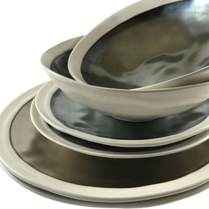Alternate view Robert Gordon Flux Collection Dinner Set - Platinum showing a collection of matching Bowls, Side Plates and Dinner Plates