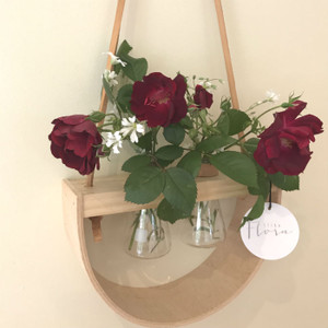 Double Half Moon Wooden Wall Vase - 2 x 50ml Conical Flasks