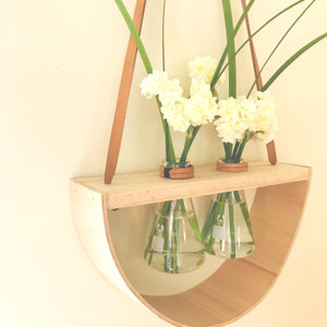 Stunning blooms in our Mega Double Half Moon Wooden Wall Vase - Two 250ml Conical Flasks