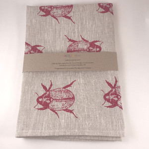 Aqua Door Design Linen Tea Towel -  Christmas Beetles in Red