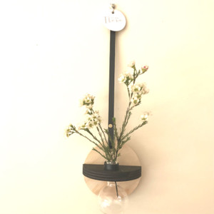 Stix & Flora - Hoopla Vase with black trim - Single 100ml Round Flask - small (flowers not included)