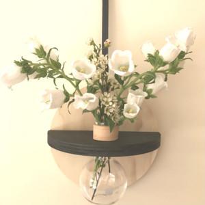 Stix & Flora - Hoopla Vase with black trim - Single 250ml Round Flask - medium (Flowers not included)
