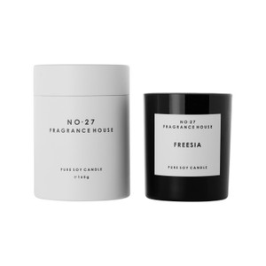 No.27 Fragrance House - Candle in Black Frosted Glass - Freesia - 165g in elegant packaging 35 hours burn time