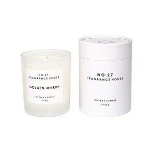 No.27 Fragrance House - Candle in Frosted Glass and Packaging - Golden Myrrh - 165g 35 hours burn time