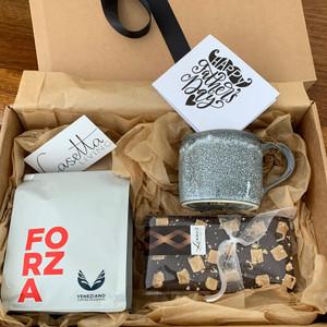 Coffee & Choc Gift Box Comprising: Veneziano Coffee, Lizzy's Chocolate, Robert Gordon Organic Mug-Storm and Handwritten Note