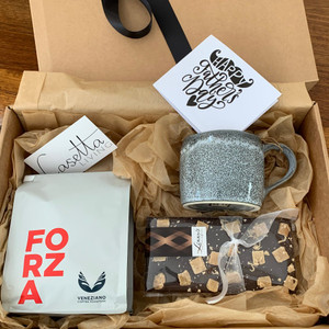 Coffee & Choc Gift Box Comprising: Veneziano Coffee, Lizzy's Chocolate, Robert Gordon Organic Mug-Storm and Handwritten Note