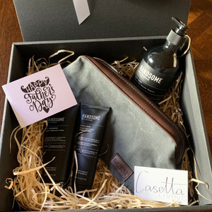 Male Grooming Gift Box Comprising: Handsome Body Wash, Handsome 2 in 1 Shampoo, Handsome Facial Wash, Handsome Toiletries Bag and Handwritten Note