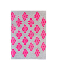 Linen Tea Towel - Arabesque Neon Pink 70 x 50cms