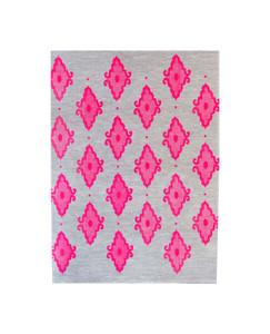 Linen Tea Towel - Arabesque Neon Pink 70 x 50cms