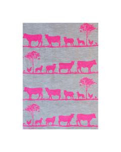 Linen Tea Towel - Paddock Highlighter Pink 70 x 50cms