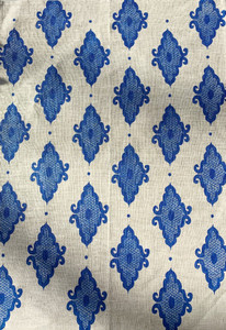 Linen Tea Towel - Arabesque Cobalt 70 x 50cms