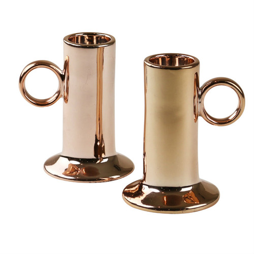 Robert Gordon - Candle Holders (pair) - Copper and Ceramic Collection Copper glazed on Ceramic