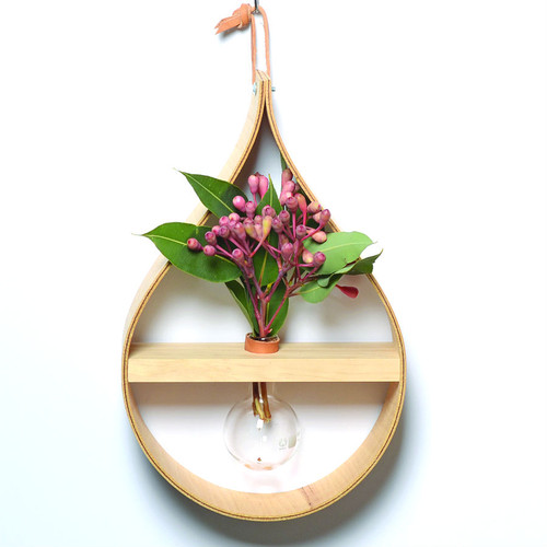 Stix & Flora - Wooden Teardrop Vase - Single 100ml Round Flask
