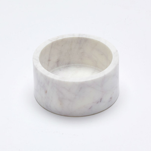 Marble Basics - The Fundamental Vessel, Colour Blanc, round marble container