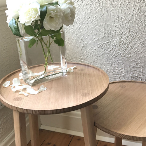 Leӱer - Stall Table Round Tall, 56cms High (on the left) shown with Stall Side Table - Round Small - 46cms (on the right)