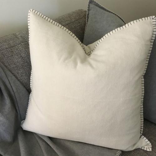 Casetta Living - Blanket Stitched Cushion 60cm - Natural