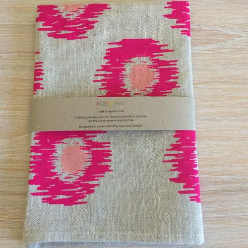 Linen Tea Towel - Ikat Spot Neon Magenta & Blush