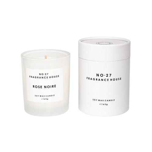 No.27 Fragrance House - Candle in Frosted Glass and Packaging - Rose Noire - 165g 35 hours burn time