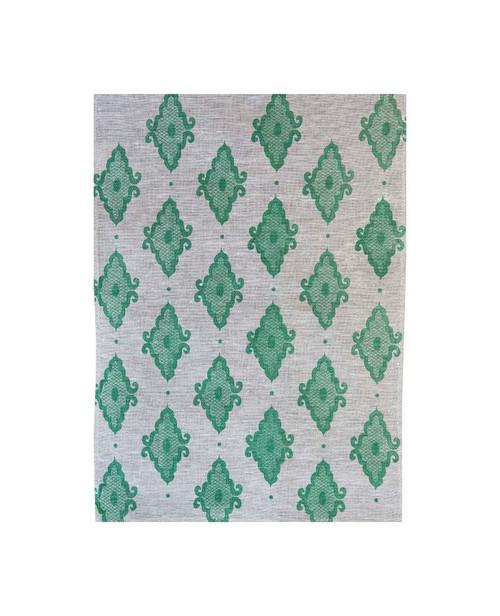 Linen Tea Towel - Arabesque Bayleaf Green 70 x 50cms