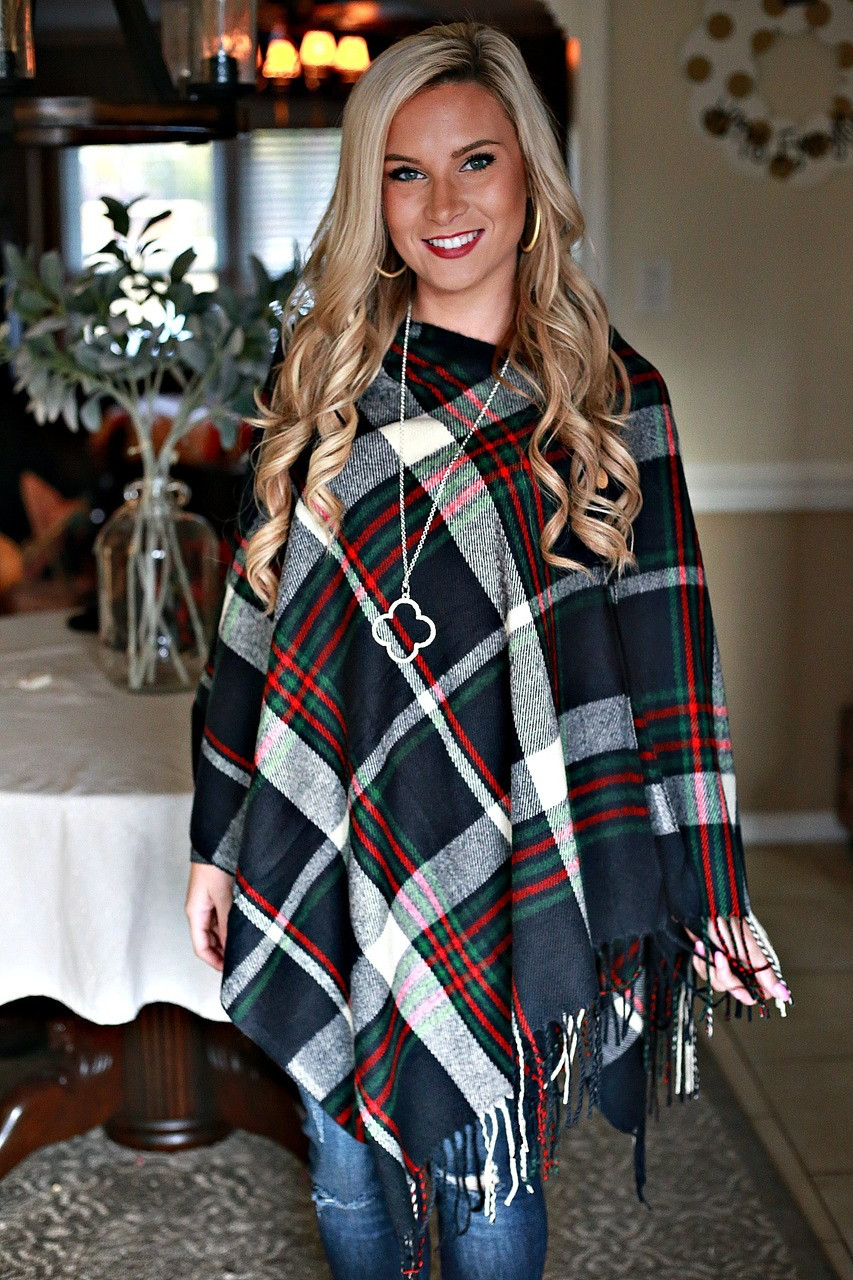 Wrapped in Warmth Poncho: Navy Plaid