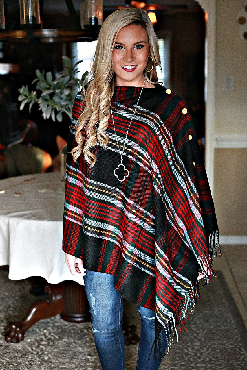 Wrapped in Warmth Poncho: Black Plaid