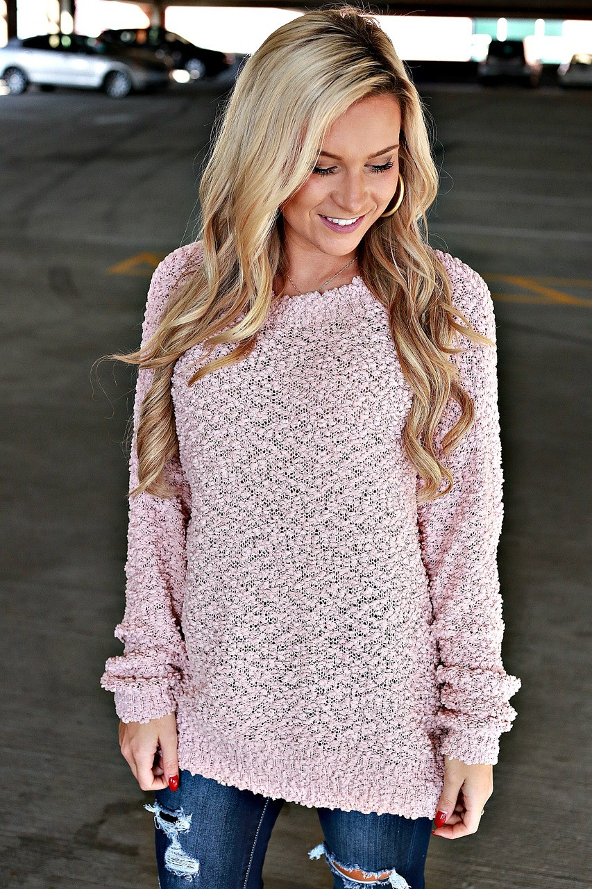 Movie Theater Popcorn Sweater Blush
