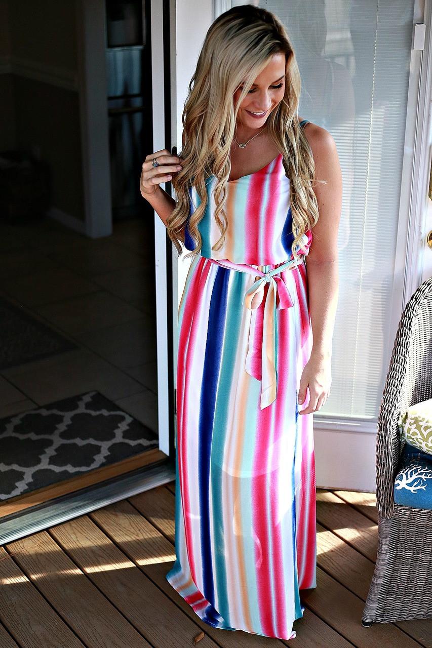 d6230741b6f6 rainbow color maxi dress