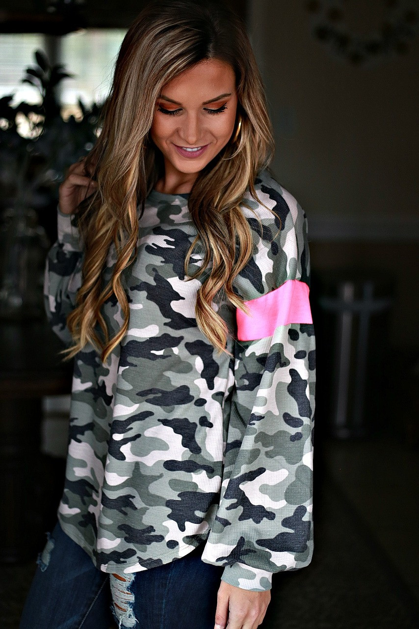 412c2f8e4d048 Never Serious Top: Camo/Hot Pink - Off the Racks Boutique