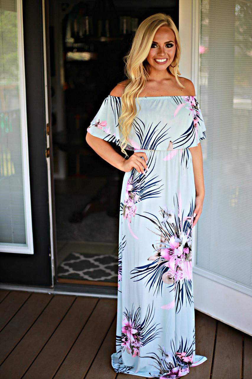 0f5587b07063c Tropical Days Maxi Dress: Mint