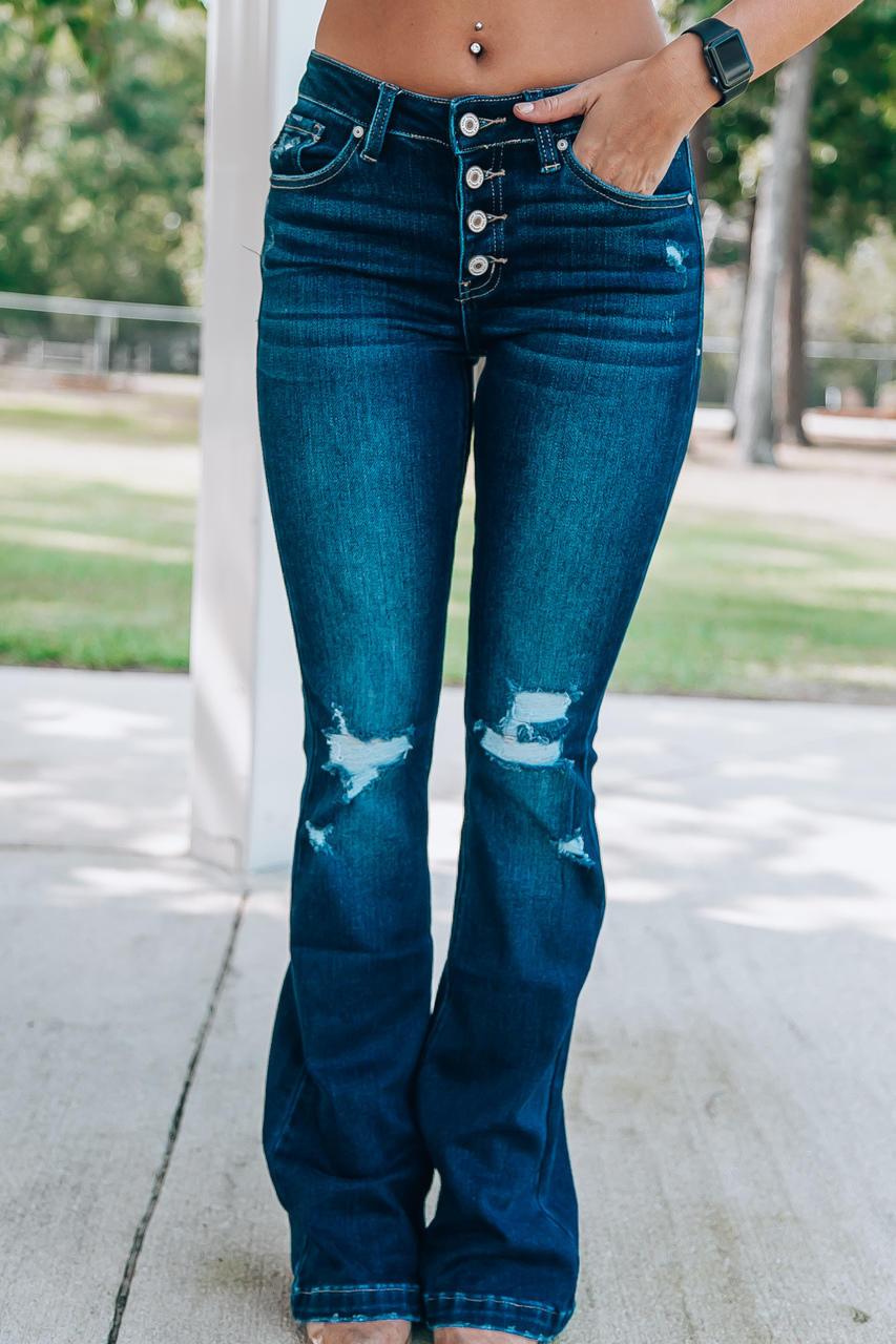 Kancan Meri Distressed Flare Jeans Dark Wash Off The Racks Boutique