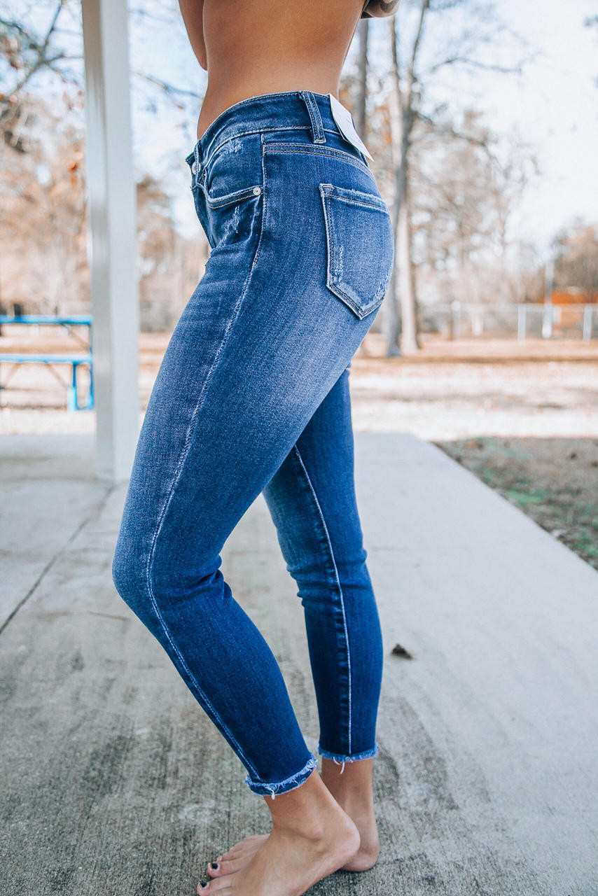 Kancan Amelia Mid Rise Frayed Ankle Skinny Jeans Dark Wash Off The Racks Boutique