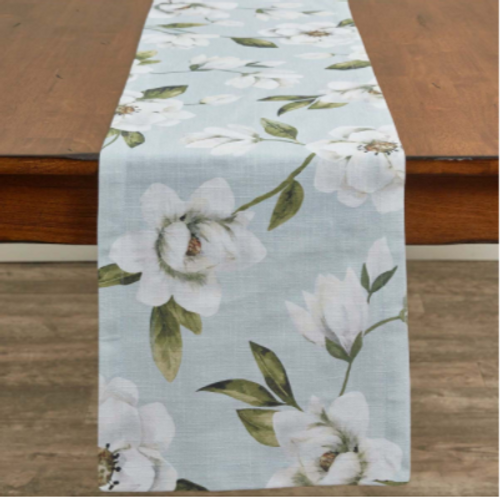 Magnolia Floral Printed Table Runner 13x54