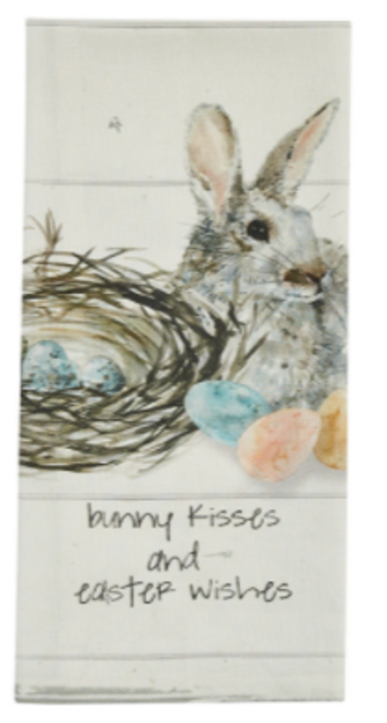Bunny Kisses and Easter Wishes Printed Dish Towel