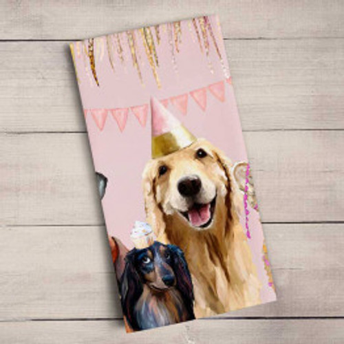 dog, golden retriever, black Labrador, Daschund, puppy, party hat