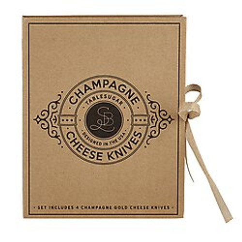 Cardboard Book Set Gold Cheese Knives