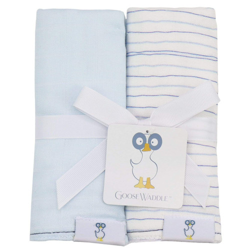 2 PK Muslin & Terry Cloth Burp Cloth Blue/Stripes